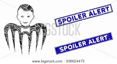 Mosaic Croupier Monster Pictogram And Rectangular Spoiler Alert Seal Stamps. Flat Vector Croupier Mo