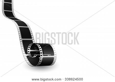 Realistic 3d Cinema Film Strip In Perspective. Film Reel Frame Isolated On White Background. Vector