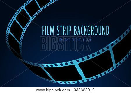 Realistic 3d Cinema Film Strip In Perspective. Film Reel Frame Isolated On Blue Background. Vector T