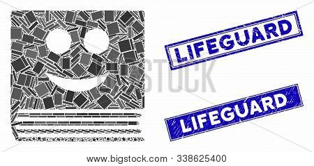 Mosaic Happy Book Pictogram And Rectangular Lifeguard Seal Stamps. Flat Vector Happy Book Mosaic Pic