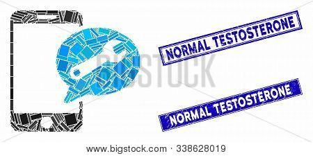 Mosaic Phone Service Sms Pictogram And Rectangular Normal Testosterone Watermarks. Flat Vector Phone