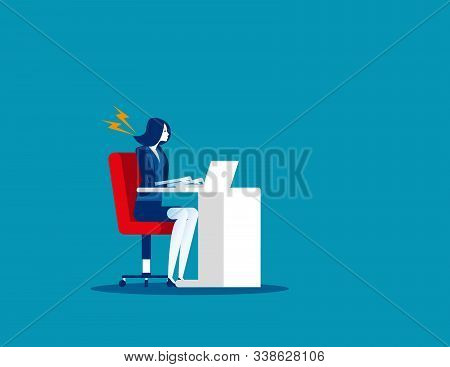Businesswoman Suffer From Stiff Neck. Concept Business Vector. Problem, Health, Fatigue.