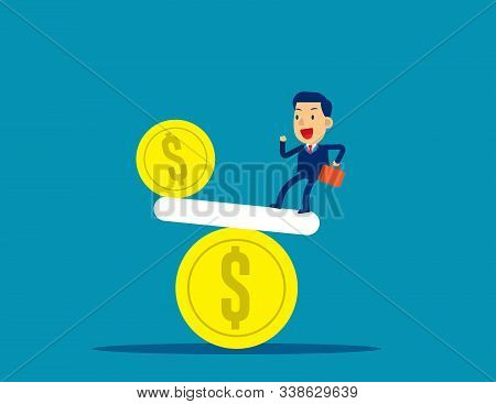 Businessman And Balanced. Concept Business Vector Illustration, Equilibrium, Challenge.