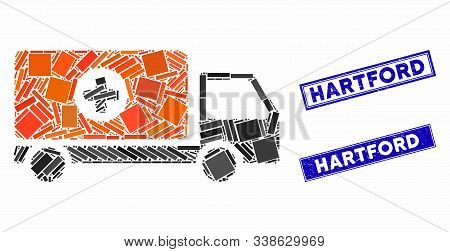 Mosaic Drugs Shipment Icon And Rectangle Hartford Seal Stamps. Flat Vector Drugs Shipment Mosaic Ico