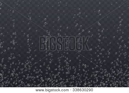 Underwater Fizzing Bubbles Texture Isolated On Transparent Background.