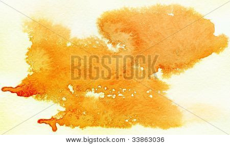 Orange spot, watercolor abstract hand painted background