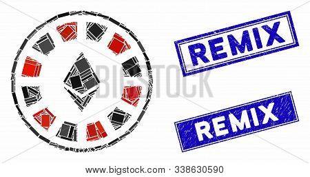 Mosaic Ethereum Casino Roulette Pictogram And Rectangle Remix Stamps. Flat Vector Ethereum Casino Ro