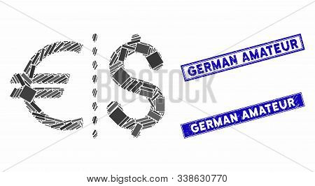 Mosaic Currency Icon And Rectangular German Amateur Watermarks. Flat Vector Currency Mosaic Icon Of