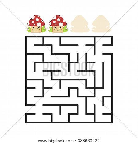 A Colored Square Labyrinth With An Entrance And An Exit. Difficulty Level. Lovely Toon. Simple Flat