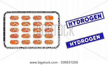 Mosaic Blister Icon And Rectangle Hydrogen Seal Stamps. Flat Vector Blister Mosaic Icon Of Scattered