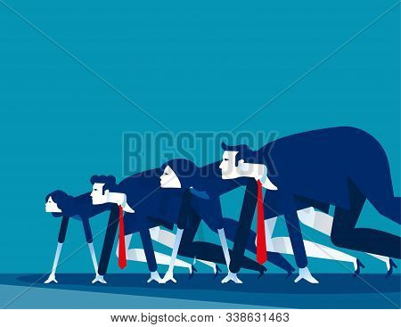 Business People Lined Up Getting Ready For Race. Concept Business Vector Illustration,  Starting Lin