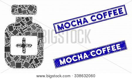 Mosaic Medication Phial Pictogram And Rectangle Mocha Coffee Seal Stamps. Flat Vector Medication Phi
