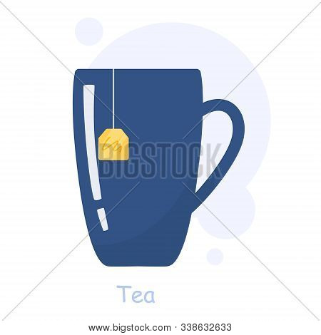 Cup Of Tea. Traditional Hot Drink, Tea Pack In Hot Water.