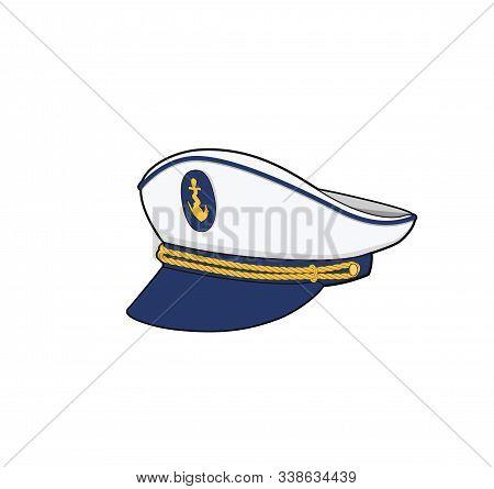 Captain Hat. Sea Forces Captain Cap. Boat Crew Uniform. Vector Illustration.