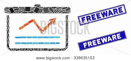 Mosaic Chart Pictogram And Rectangle Freeware Seal Stamps. Flat Vector Chart Mosaic Pictogram Of Sca