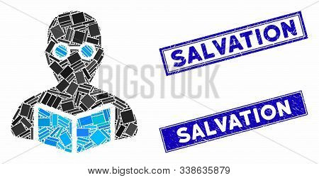 Mosaic Student Icon And Rectangular Salvation Seal Stamps. Flat Vector Student Mosaic Pictogram Of S