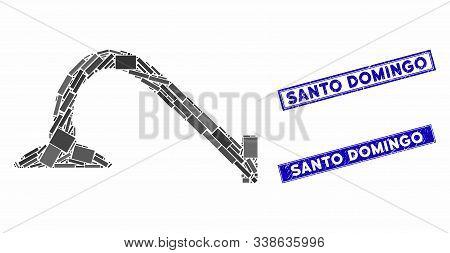 Mosaic Tap Mixer Pictogram And Rectangular Santo Domingo Seal Stamps. Flat Vector Tap Mixer Mosaic I