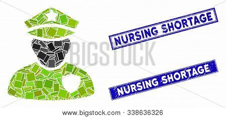 Mosaic Police Officer Icon And Rectangular Nursing Shortage Stamps. Flat Vector Police Officer Mosai
