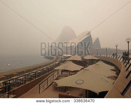 Bush Fire Smoke Haze Covered Over The Opera , View From Opera House Bar. Australia:10-12-2019