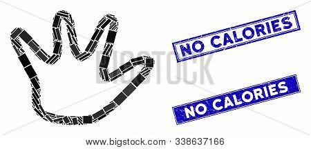 Mosaic Negation Gesture Pictogram And Rectangular No Calories Seals. Flat Vector Negation Gesture Mo