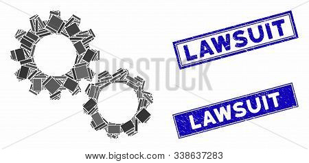 Mosaic Gears Pictogram And Rectangle Lawsuit Watermarks. Flat Vector Gears Mosaic Pictogram Of Rando