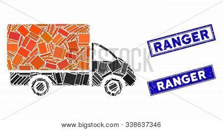 Mosaic Shipment Car Pictogram And Rectangular Ranger Seal Stamps. Flat Vector Shipment Car Mosaic Pi