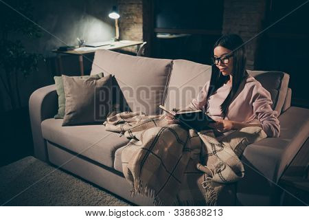 Profile Photo Of Homey Lady Read Exciting Historic Novel Interested Book Worm Sitting Couch Covered
