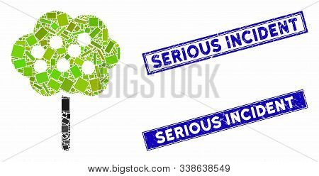 Mosaic Tree Icon And Rectangular Serious Incident Seal Stamps. Flat Vector Tree Mosaic Pictogram Of