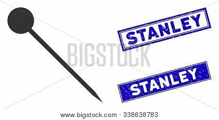 Flat Vector Sharp Pin Icon And Rectangle Stanley Stamps. A Simple Illustration Iconic Design Of Shar