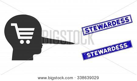 Flat Vector Shopping Scammer Icon And Rectangular Stewardess Stamps. A Simple Illustration Iconic De