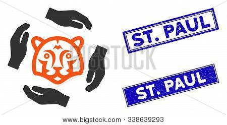 Flat Vector Save Tigers Icon And Rectangular St. Paul Seals. A Simple Illustration Iconic Design Of