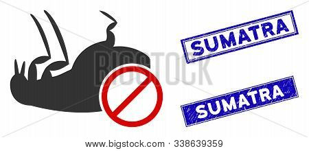 Flat Vector Stop Flea Icon And Rectangular Sumatra Stamps. A Simple Illustration Iconic Design Of St