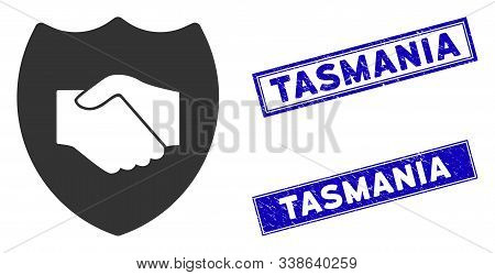 Flat Vector Trust Pictogram And Rectangle Tasmania Watermarks. A Simple Illustration Iconic Design O