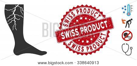 Vector Deep Vein Thrombosis Icon And Grunge Round Stamp Watermark With Swiss Product Text. Flat Deep