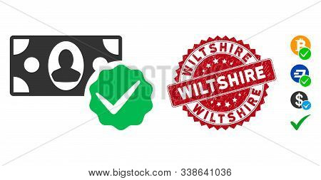 Vector Paid In Full Icon And Distressed Round Stamp Watermark With Wiltshire Phrase. Flat Paid In Fu