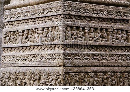 Beautifully Carved Idols At Kailas Mandir, Cave No. 16, Ellora Caves In Aurangabad, Maharashtra
