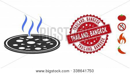 Vector Fresh Pizza Icon And Rubber Round Stamp Seal With Thailand, Bangkok Caption. Flat Fresh Pizza