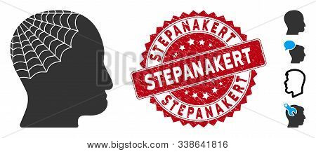 Vector Conservator Head Icon And Grunge Round Stamp Seal With Stepanakert Caption. Flat Conservator