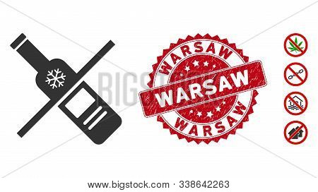 Vector No Vodka Drinking Icon And Rubber Round Stamp Seal With Warsaw Text. Flat No Vodka Drinking I