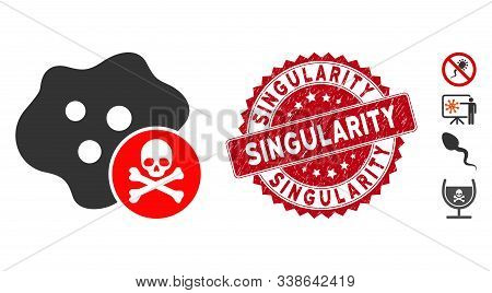 Vector Bactericidal Toxin Icon And Rubber Round Stamp Seal With Singularity Caption. Flat Bactericid