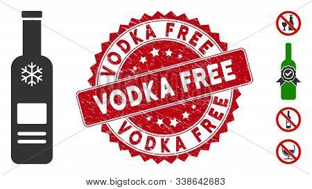 Vector Cold Vodka Bottle Icon And Grunge Round Stamp Seal With Vodka Free Phrase. Flat Cold Vodka Bo