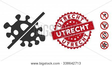 Vector No Infection Icon And Grunge Round Stamp Seal With Utrecht Phrase. Flat No Infection Icon Is