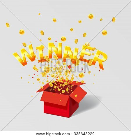 Open Red Gift Box Win Gold Text With Coins And Confetti Explosion Inside. Flying Particles Foil Burs