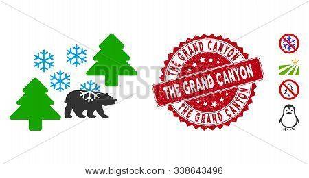 Vector Frost Siberia Icon And Distressed Round Stamp Seal With The Grand Canyon Caption. Flat Frost