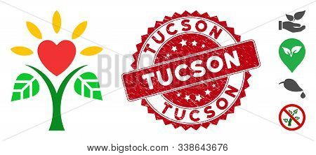 Vector Life Icon And Distressed Round Stamp Seal With Tucson Text. Flat Life Icon Is Isolated On A W