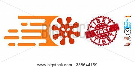 Vector Gone Viral Icon And Grunge Round Stamp Seal With Tibet Text. Flat Gone Viral Icon Is Isolated