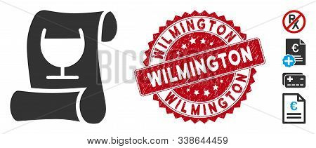 Vector Original Receipt Icon And Distressed Round Stamp Seal With Wilmington Text. Flat Original Rec