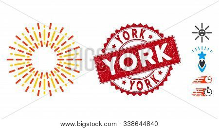 Vector Radiation Rays Icon And Rubber Round Stamp Watermark With York Text. Flat Radiation Rays Icon