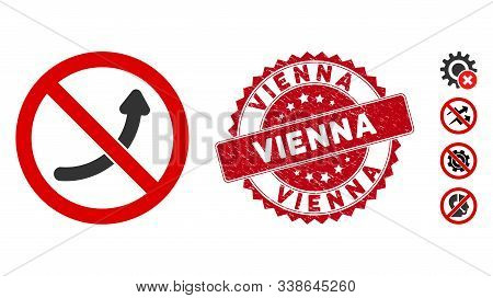 Vector No Potency Icon And Distressed Round Stamp Seal With Vienna Caption. Flat No Potency Icon Is
