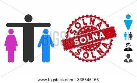 Vector Bisexual Person Icon And Corroded Round Stamp Seal With Solna Phrase. Flat Bisexual Person Ic